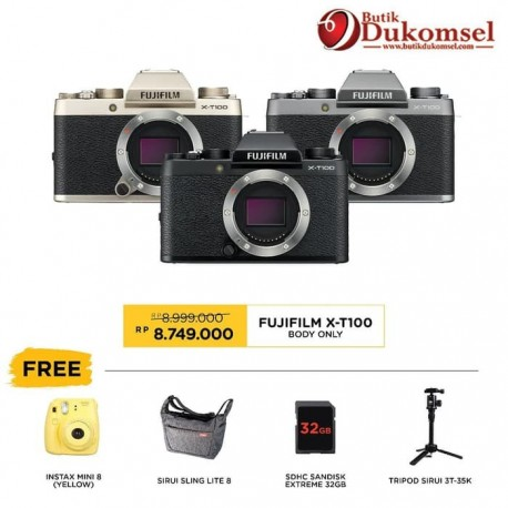(PRE-ORDER) Fujifilm X-T100 Kit XC 15-45mm + Tripod Sirui 3T-35K