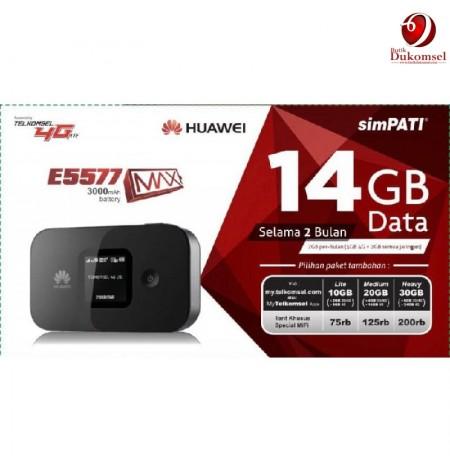 Huawei E5577 MiFi 4G Telkomsel 14GB 2 Bulan (Black)