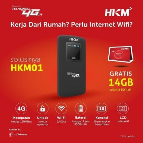 Mifi Modem Wifi 4G HKM001 Free Telkomsel 14GB